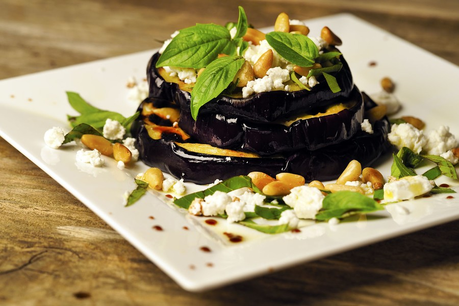Eggplant with Pine Nuts, Goat Cheese and basil