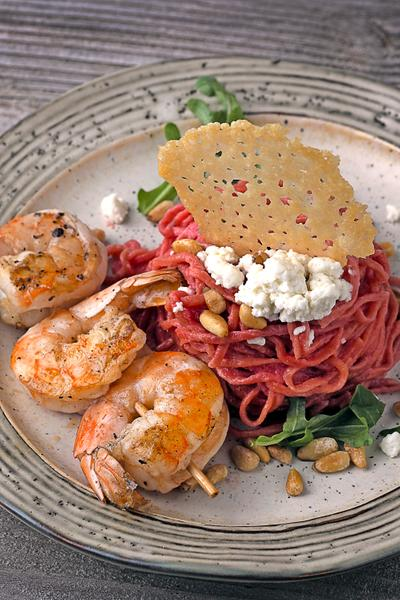 Beet Pasta with Shrimp 2