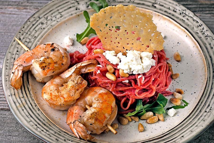 Beet Pasta with Shrimp 1