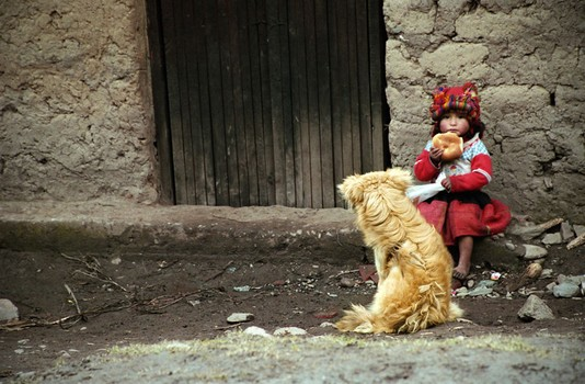 Quechan Girl with Bread and Dog, Willoq, Peru