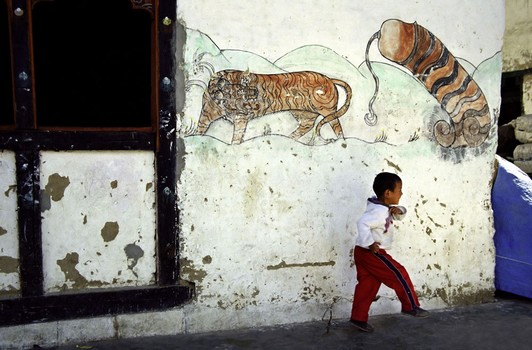 Boy Running by Tiger & Penis Wall Painting Bhutan