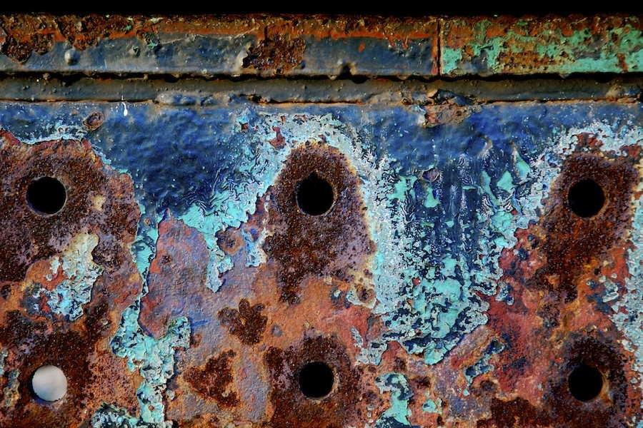 Blue Paint & Rust with 6 Holes