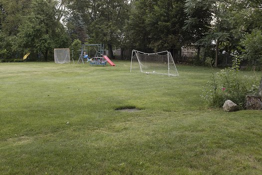 Soccer net and backyards, late summer, Auburndale