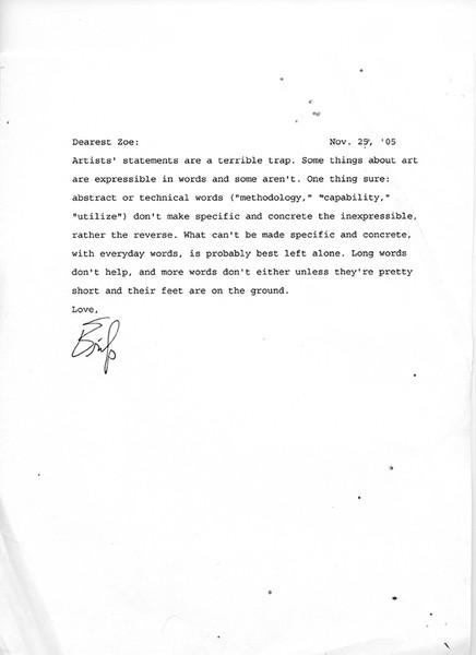 Artist's Statement page 1