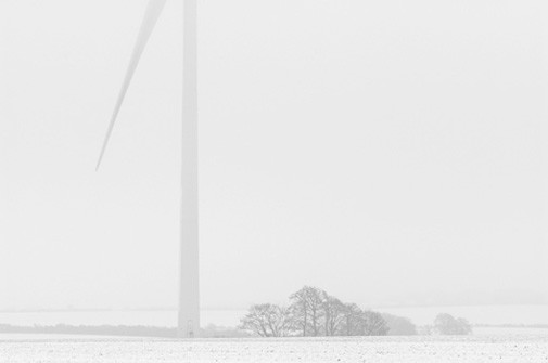 Wind turbine, snow and trees