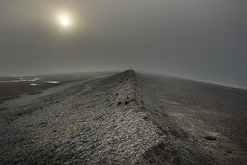 Seawall and mist. Cley, Norfolk