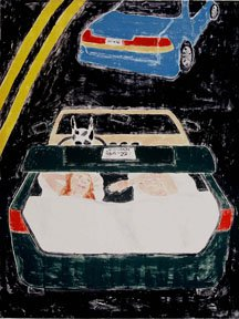 Dream (Couple in trunk with dog driving)