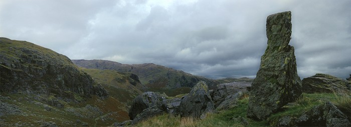Stone on Coniston Old Man below Levers Water