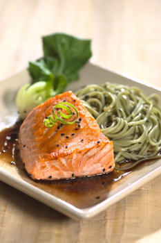 Salmon with Wasabi Noodles