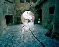 beneath Sigisoara's clock tower
