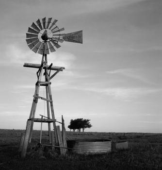 Windmill on Wooden Tower, near Selman, Oklahoma